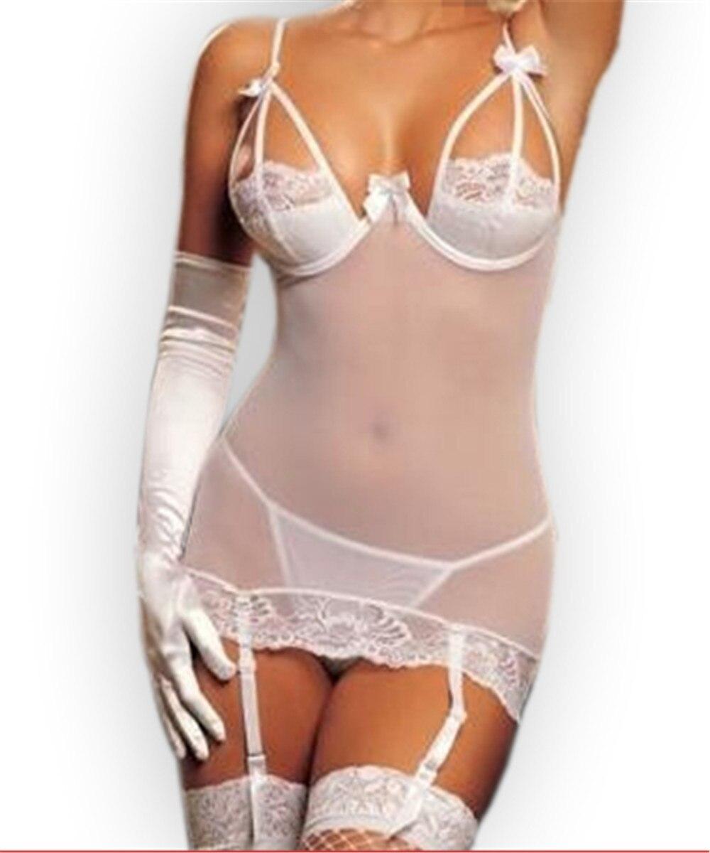 5979ad6297 Aliexpress.com  Comprar Sexy ropa de dormir encaje sexy ropa interior blanco negro  transparente babydoll correas y liguero corto camisón M XL 2XL de sexy ...