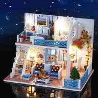 Casa de muñecas en miniatura DIY pequeña casa con vista al mar cabaña de madera Villa ensamblaje modelo Hellen Coast regalo muebles niños cumpleaños niña regalo