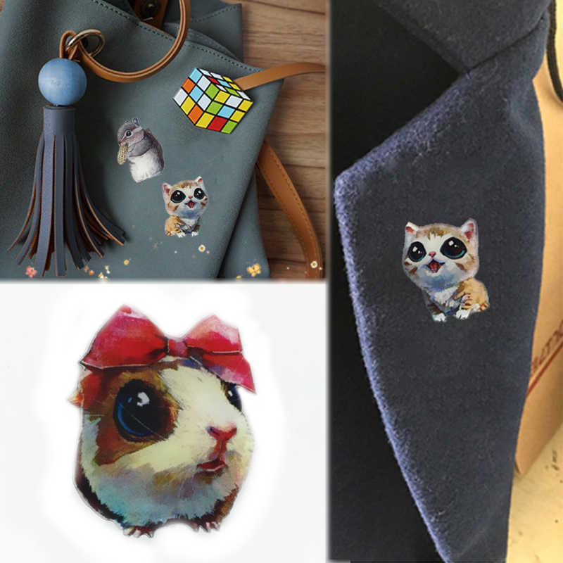 LNRRABC Girls Brooches Fashion Pin Bag Ornament Clothing Accessories Gift Women Badge Jewelry Children Cute Animal Cat Dogs