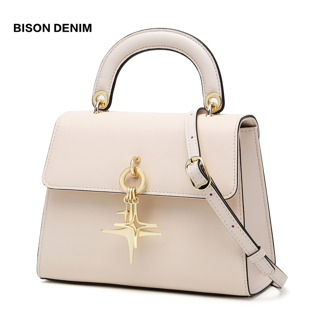 BISON DENIM Cow Leather Women Bags luxury handbags women bags designer Fashion Shoulder Bag bolsa feminina