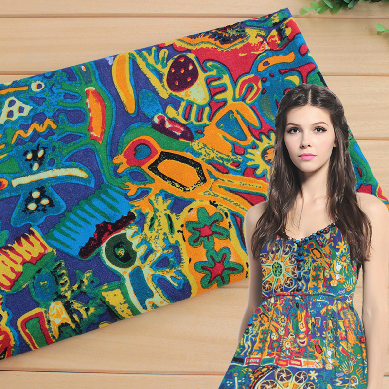 New Ethnic Fabrics Cotton/linen Fabric Ethnic Abstract ...