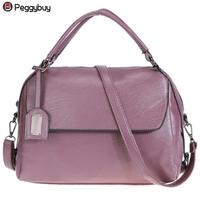 Women Fashionable PU Leather Large Capacity Tote Bag Purple Handbag Korean Style Solid Travel Female Shoulder Bag