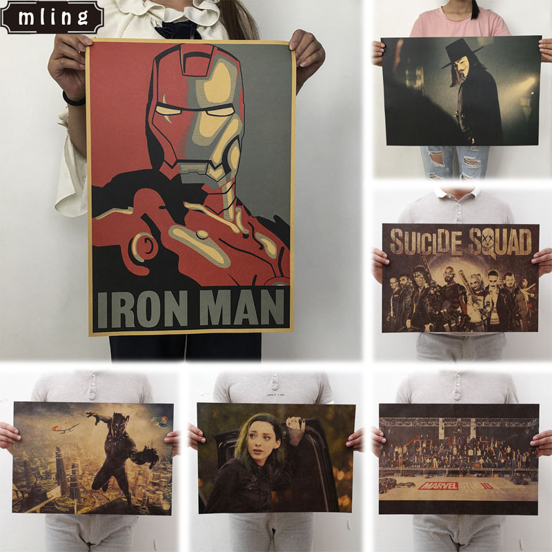 Mling 51.5x36cm Movie Marvel Series Poster Avengers Infinity War Retro Poster Wall Stickers  For Living Room Home Decoration