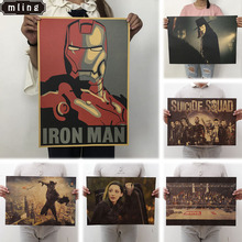 mling 51.5x36cm Movie Marvel Series Poster Avengers Infinity War Retro Wall Stickers  For Living Room Home Decoration