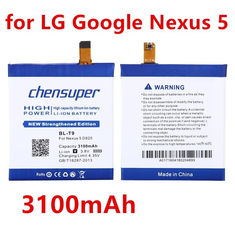 Chensuper 3100 mAh BL-T9 Per LG Nexus 5 E980 Google Nexus G D820 D821 Nexus5 Megalodon D8 Google Nexus 5 Bateria batteria
