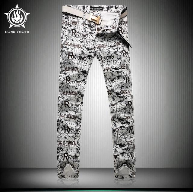 d91c6c4f 2016 New Fashion Mens Printed Jeans Punk Straight Washed Denim Pants For Men  Slim Fit Stylish