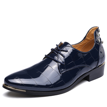 Big Size Men Genuine Leather Shoes Men Bright Surface Personality Shoes Sapato British Man Fashion Geometry Pointed Dress Shoes