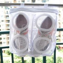 1 sztuk nylon pralnia torba na buty torba do mycia butów trener sportowe Sneaker buty tenisowe buty pralnia Mesh pralka torba Storage Organizer tanie tanio W strona główna Wu Fang Wiadomości Czyszczenia Składany Poliester