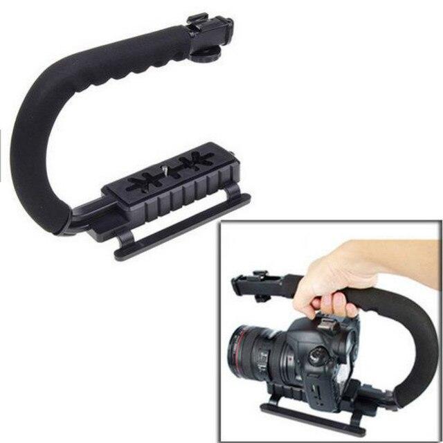 U 그립 트리플 슈 마운트 비디오 액션 DSLR 카메라 그립 비디오 캠코더 안정화 핸들 사진 selfie 스틱 카메라