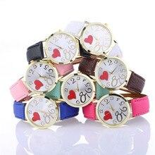 New Arrival 7Color Hot Sale Love Patterns Watch Women Ladies Fashion Watch Faux leather Elegant Analog Quartz Watch Female Clock