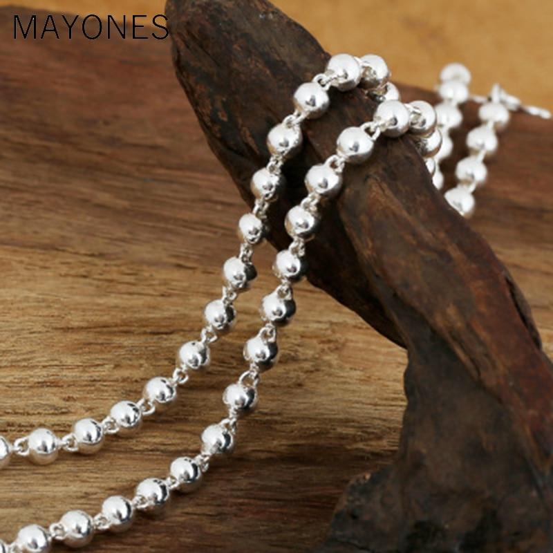 5mm largeur Simple 925 argent Sterling chaînes à billes colliers Vintage argent perles chaîne collier pour femmes femmes enfants bijoux