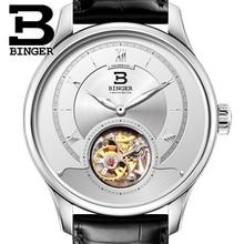 Luxury Switzerland BINGER Watches Men Japan Seagull Automatic Movement Tourbillon Sapphire Alligator Hide Men's Watch B80805-1