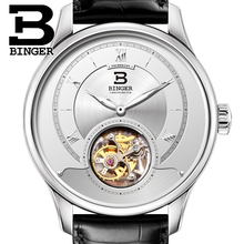 Luxury Switzerland BINGER Watches Men Japan Seagull Automatic Movement Tourbillon Sapphire Alligator Hide Men's Watch 80805-1