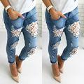 Encajes de Ganchillo de Las nuevas Mujeres Flacas Stretch Denim Pantalones Delgados Leggings Jeans Pantalones