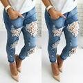 New Womens Skinny Lace Crochet Stretch Denim Slim Trousers Leggings Jeans Pants