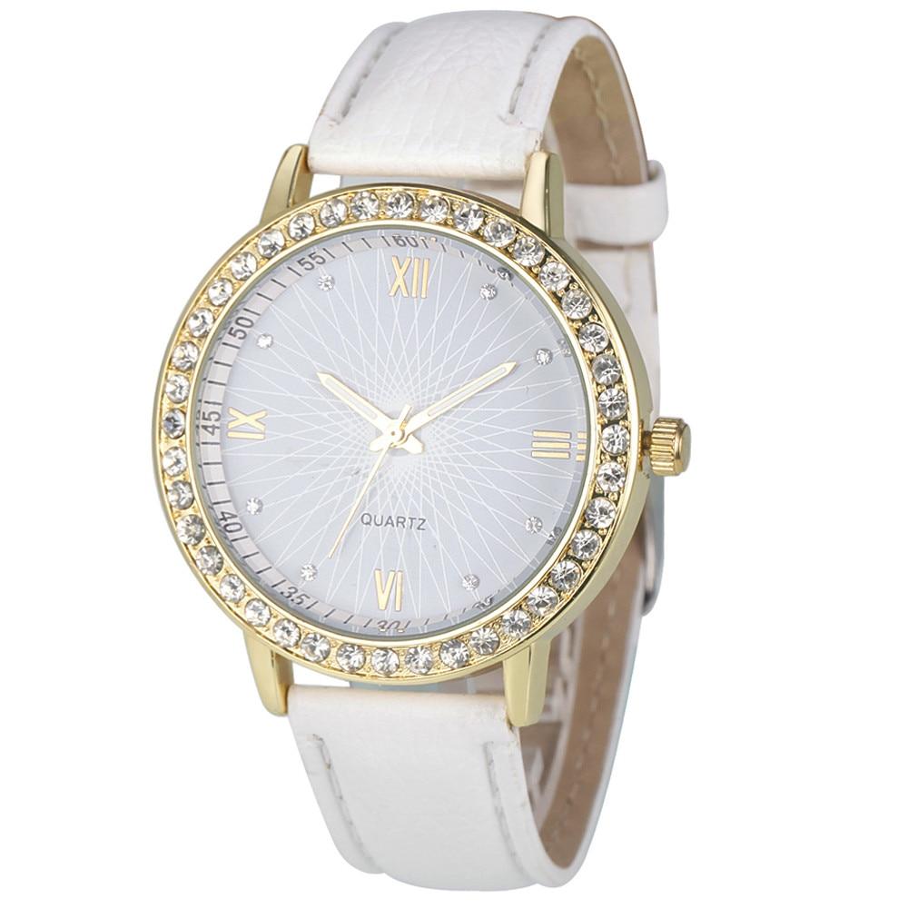 Watch Women Watches Rhinestone Relogio Feminino Fashion Crystal PU Leather Analog Quartz Female Clock Montre Femme