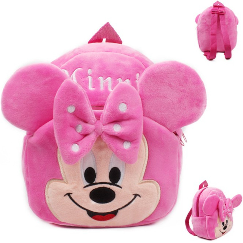 1-3 Years Cute Baby Plush Backpack Cute Cartoon Pink Minnie The Mouse Plush Bag Soft Toy Children's School Bag For Kid