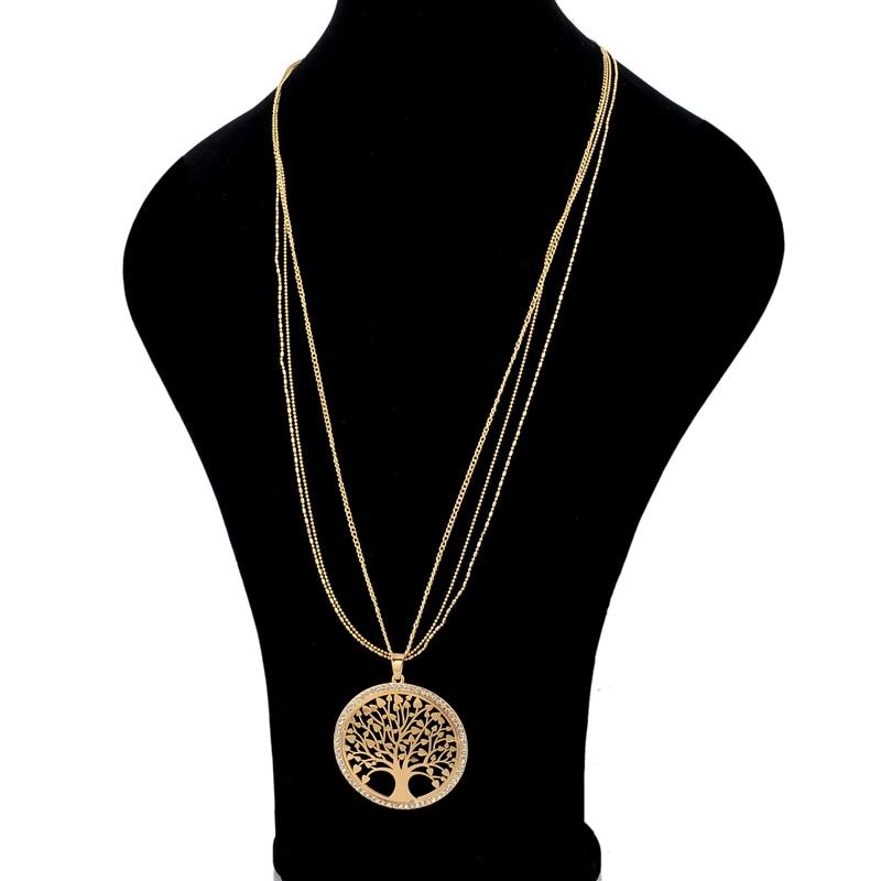 LongWay Gold Color Tree Of Life Jewelry Set For Women Girls Necklace Earrings Bracelets Wedding Crystal Jewellery Set SET160008 3