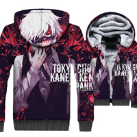 Funny Anime Hoodies Brand Clothing 2018 Fashion Winter Jacket Male Harajuku Men's Thick Coat Tokyo Ghoul 3D Print Sportswear Top