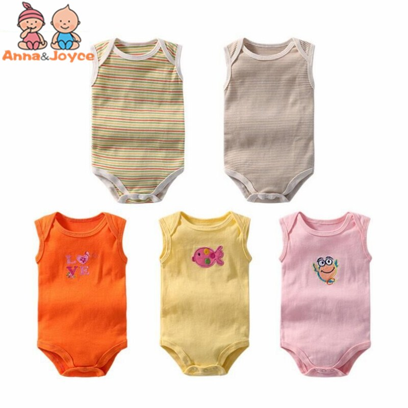 5Pcs/lot Summer Sleeveless Baby Bodysuits Jumpsuit Underwear Cotton Carton Newborn Infant Toddler Boys Girls Bodysuit Suit 3-24M