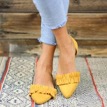 new fashion Plus Size Women's Sandal Ruffles Shoes Woman Pointed Toe Sandals Summer Shoes Flats Sandalias Mujer 2019 E671