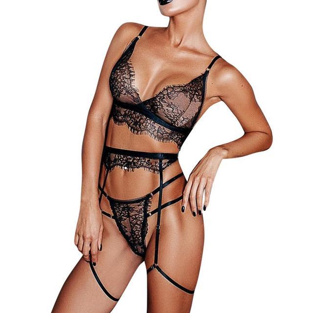 Sexy Women Black Lace Bra Underwear Set Sexy Lingerie lenceria mujer exotic Sleepwear Thong Garter Ladies Black Temptation Sets 3