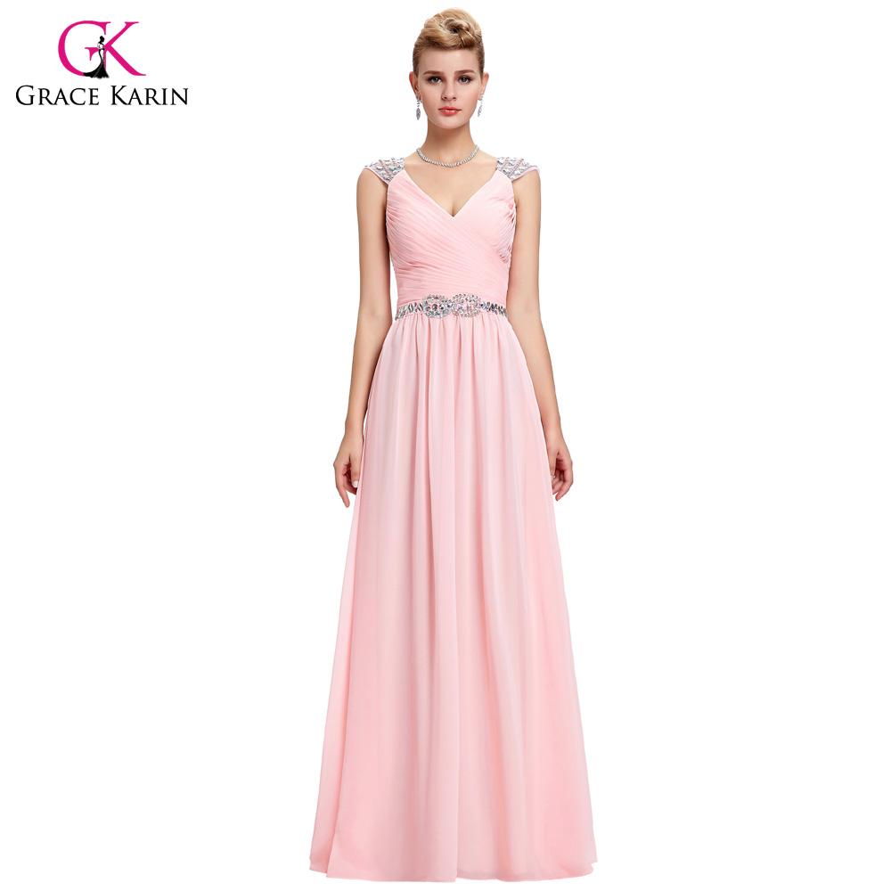 Cap Sleeve Evening Dress 2018 Grace Karin Women Crystal Sequins Long Formal  Dresses Robe de Soiree Pink Evening Gowns 0065 a80ac29053b3