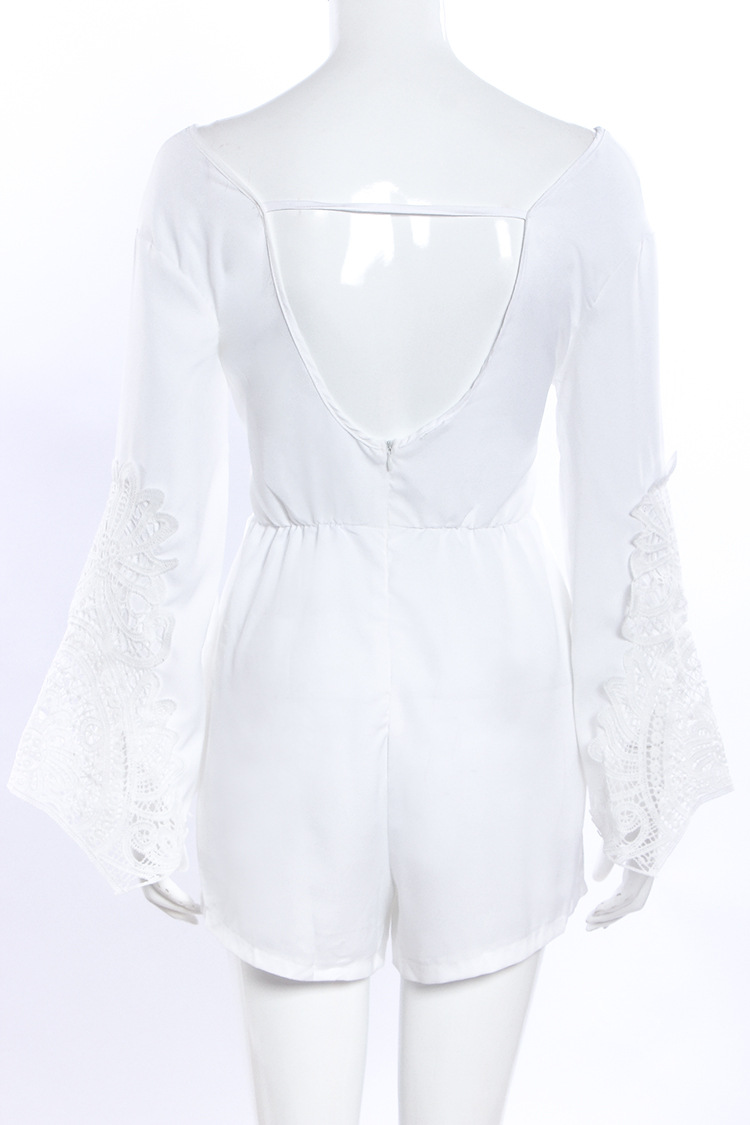 Long Sleeve Deep V-neck Backless Hollow Out Lace Jumpsuit