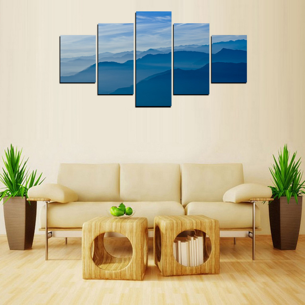 original oil ink 5 panels canvas prints blue mountain painting on canvas wall art home decor in. Black Bedroom Furniture Sets. Home Design Ideas