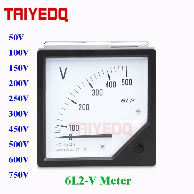 6L2-V puntatore voltmetro analogico tester di volt 80 millimetri x 80mm AC50V 100V 150V 250V 300V 450V 500V 600V 750V Elettrico Votage Tester