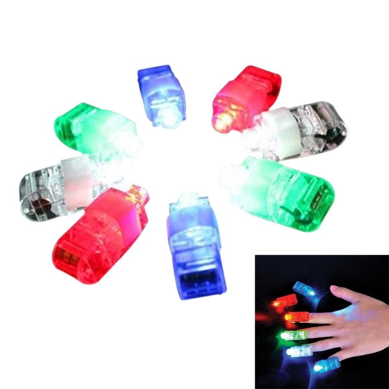 8 Color LED Laser Finger Ring Lights Beam Torch Party   NSV775