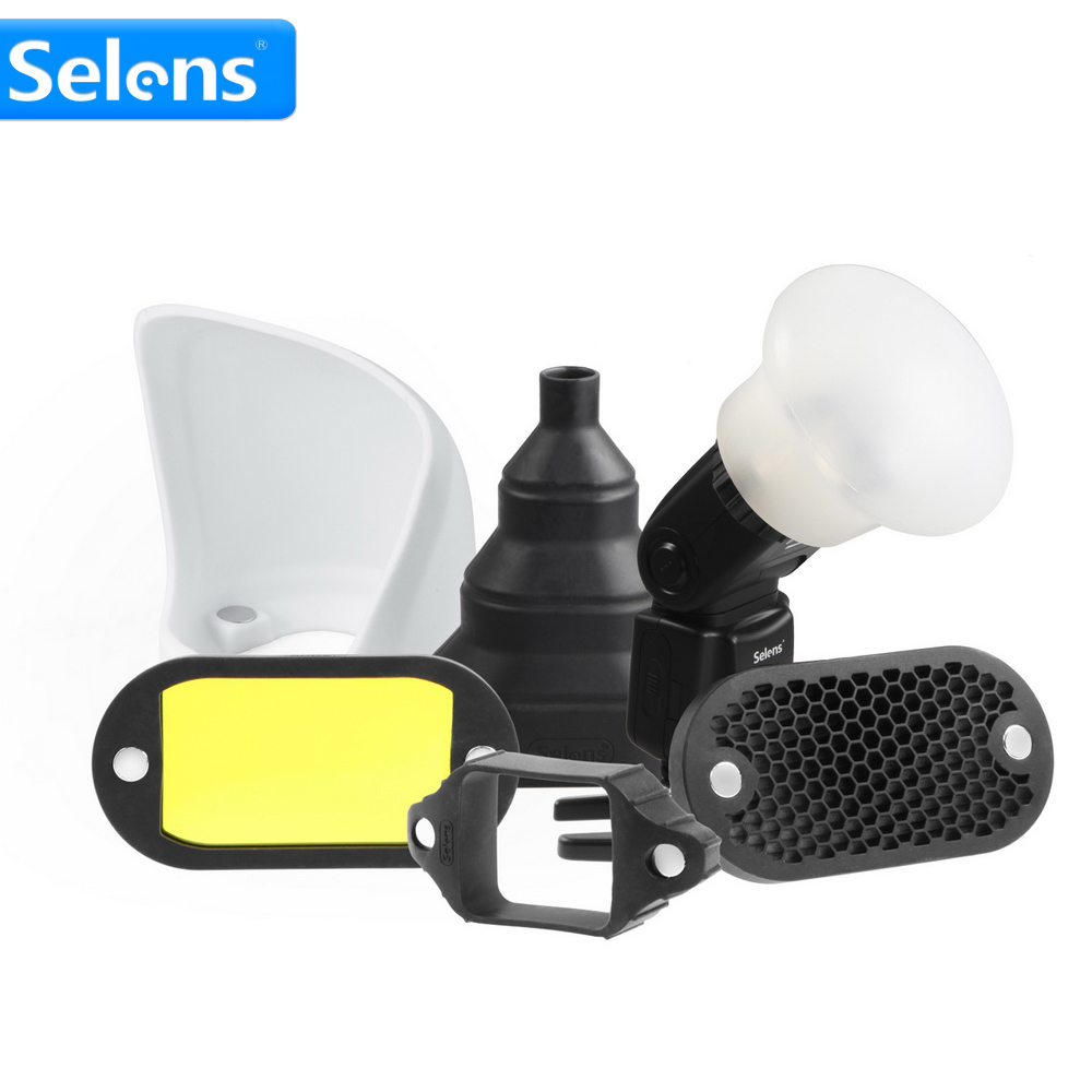 Selens Magnetic Flash Accessories Kit 7 Color Filters Honeycomb Grids Sphere Bounce Snoot Grip Lighting Modifier