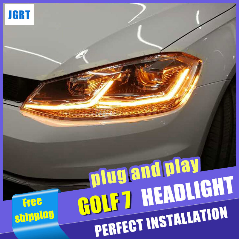 Car Styling Headlight assembly 2013-2017 for VW golf DoubleU Angel Eye Lens Double Beam H7 hid kit with 2pcs. right combination headlight assembly for lifan s4121200
