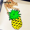 Long pineapple pendant fruit accessories fashion gold plated statement necklaces colar bijoux femme collier punk mujer kolye