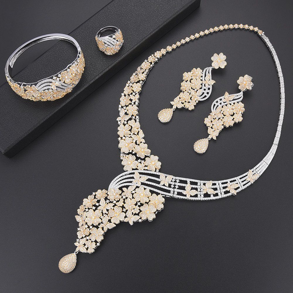 Luxury Blossom Wedding Collar Necklace CZ dubai jewelry sets for women Necklace Earrings fashion jewelry Ring Bracelet Jewelry Luxury Blossom Wedding Collar Necklace CZ dubai jewelry sets for women Necklace Earrings fashion jewelry Ring Bracelet Jewelry
