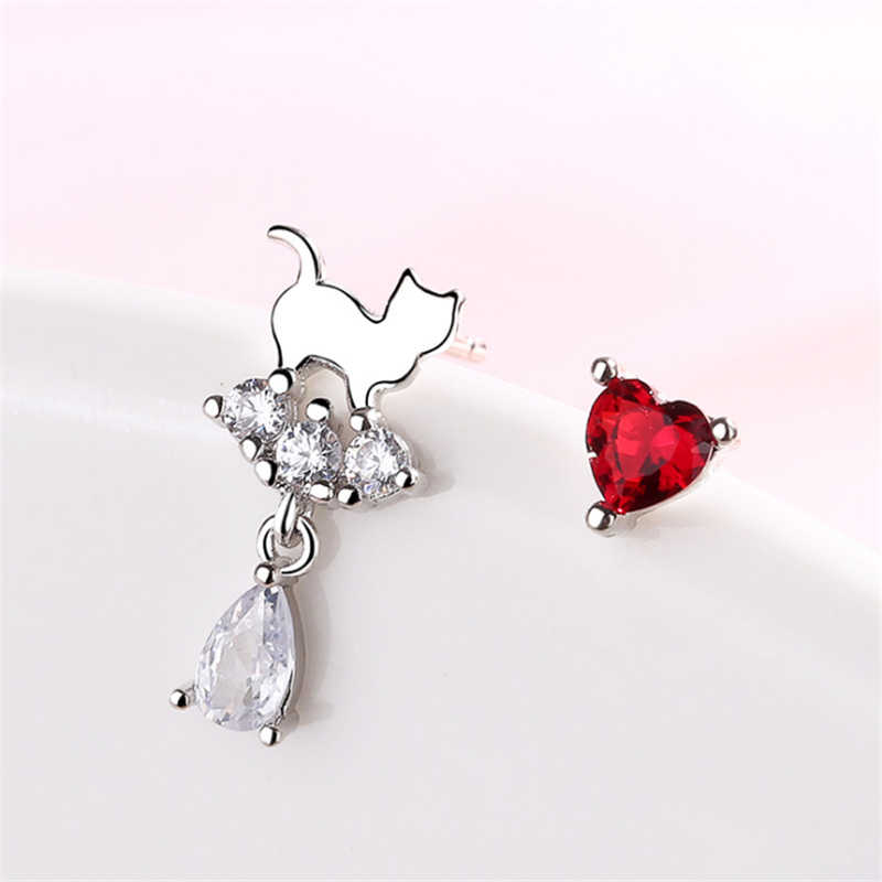 Cute Cat Water Drop Red Stones Crystal Earrings Asymmetrical Red Heart 925 Sterling Silver Woman Brinco zapatos mujer 2019 SE767