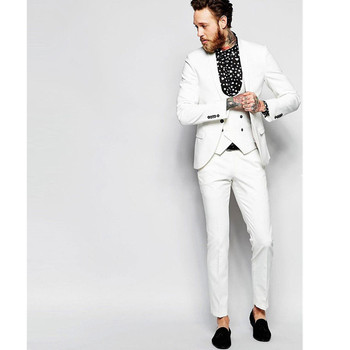 (Jacket + pants + vest) high-end custom business suit three-piece men's wedding dress men's boutique fashion casual suit