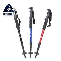 Hewolf Anti Shock Walking Sticks Ultralight Straight Shank Hiking Stick 4 Section Ski Pole Adjustable Trekking