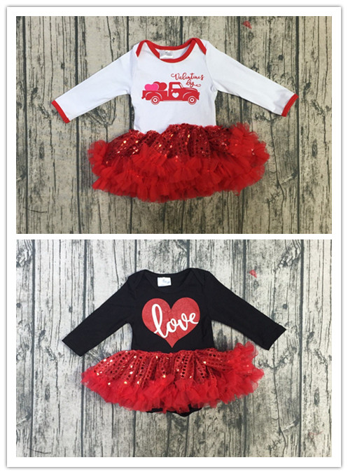 baby girls Valentine days tutu   romper   toddler girls V-day lace tutu   romper   truck heart   romper   love print tutu   romper   sets