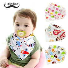 cotton baby bibs children double layers bibs baby feeding cloths animal print baby bandana dribble bibs for baby boys girls(China)