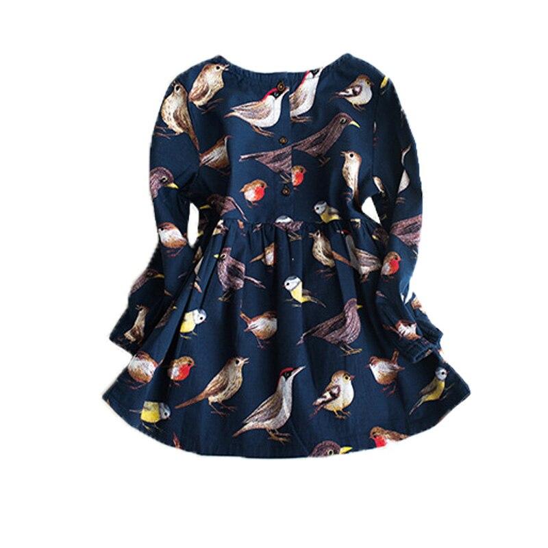 School Dress Child Costumes Dark Blue Bird Design Wedding Dress Girl Winter Graduation Dresses Kids Baby Party Frocks