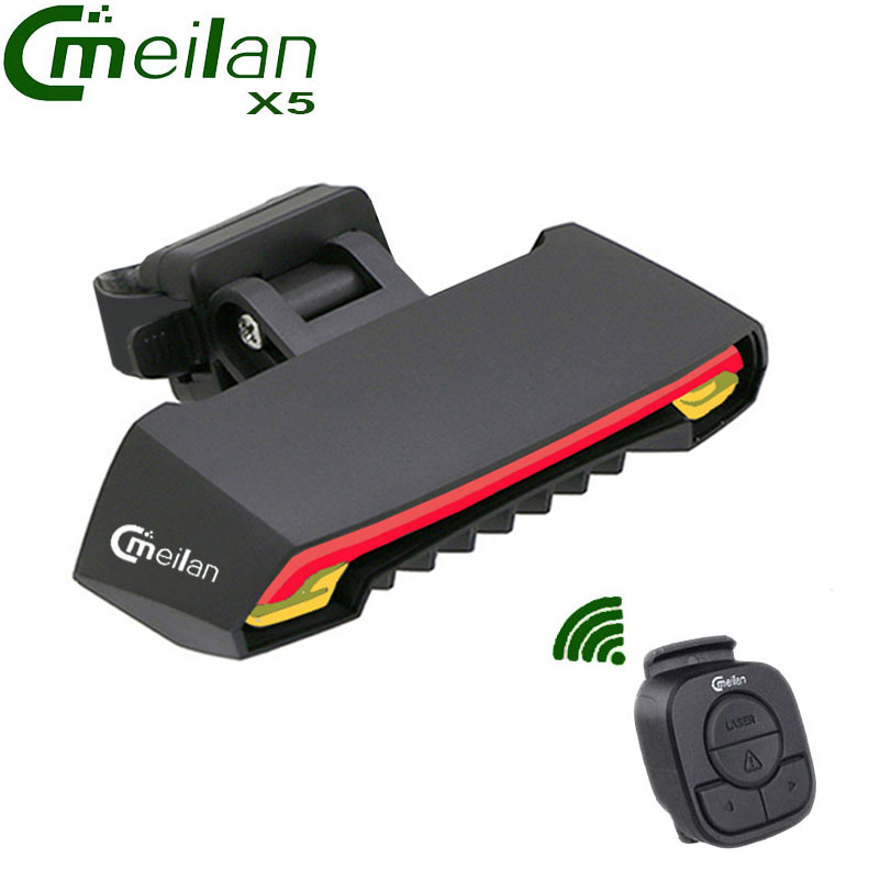 Meilan X5 Wireless Bike Bicycle Rear Light laser tail lamp Smart USB Rechargeable Cycling Accessories Remote Turn led beginagain smart bike wireless laser rear light bicycle remote control turn light safety led warning tail light usb charge
