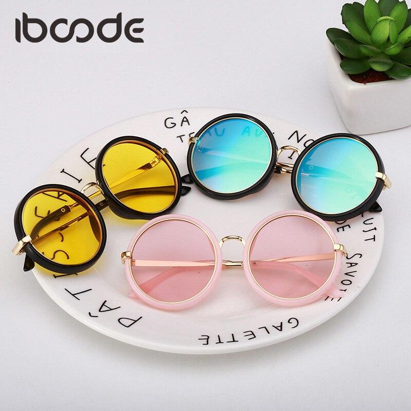 iboode Metal Marine Lens Round Sunglasses Children Cute Candy Color Flat Film for girls boys Mirror Goggles UV400 Fashion oculos