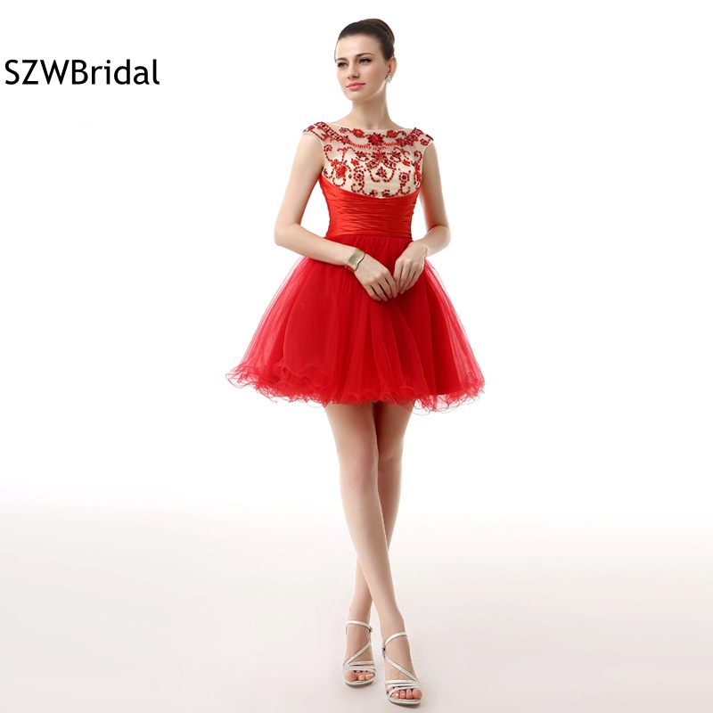 New Arrival Red Tulle Short Cocktail dress 2019 Full hand Beading vestidos de coctel ever pretty Sexy Cocktail dresses