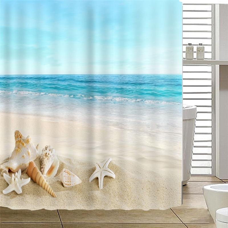 Beach shower curtain fabric 2018 new arrival hot sale cortina Sandy 180*180cm white bathroom curtain drop shipping AP17