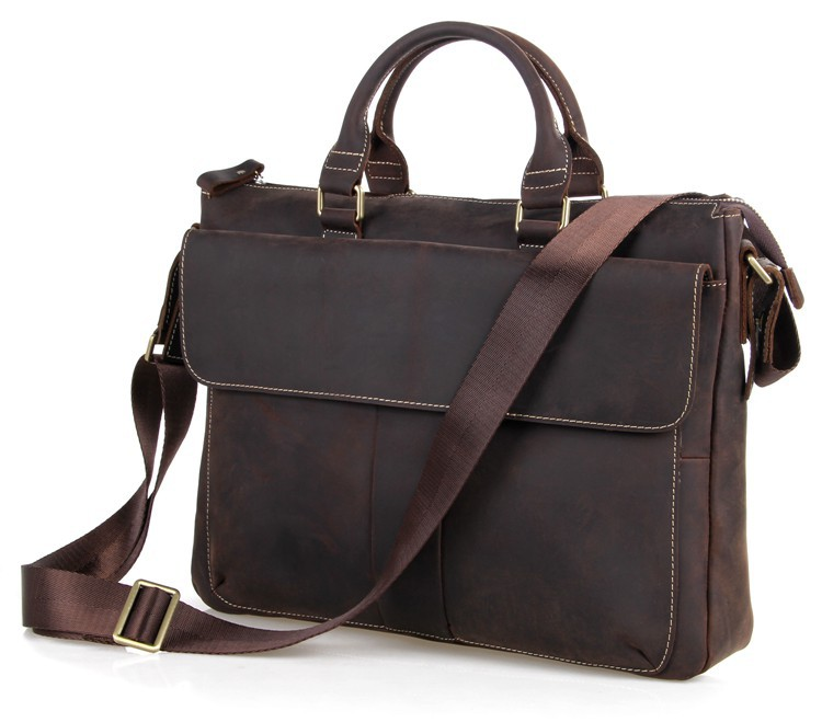 Real Crazy Horse Leather Best Selling New Arrival Laptop Briefcases 7113R-1
