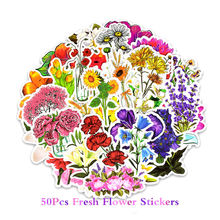 50PCS Floral Stickers Waterproof PVC Decals Flowers Scrapbooking Sticker Stationery to Laptop Suitcase Guitar Fridge