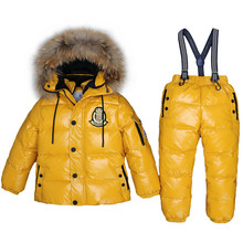 2019 Girls Boys Winter -30 degree Down Outdoor Clothes Set Thick Windproof Children 2-9T Hooded Coats+Overalls Russian Snow Sets
