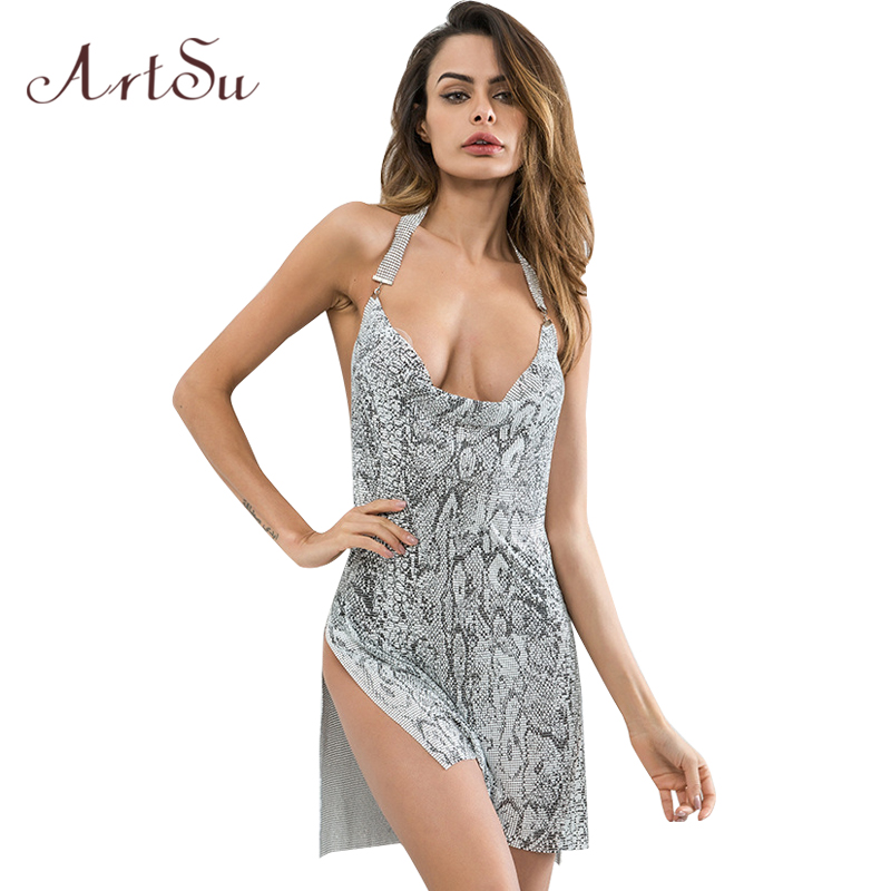 ArtSu Sexy Party Split Mini Dress Snake Print Deep V Neck Women Sleeveless Dresses Backless Club Vestidos ASDR30735