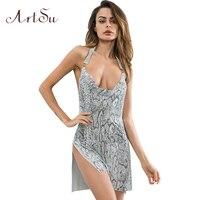ArtSu Sexy Party Split Mini Dress Snake Print Deep V Neck Women Sleeveless Dresses Backless Club Vestidos ASDR30735